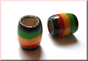 hand-painted wood bead 'rasta': (WBP-299)