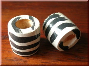 painted wood bead - 'zebra'